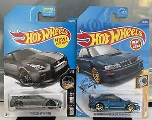 Hot Wheels x 2 '98 Subaru Impreza 22B Blue & '17 Nissan GT-R (R35) Grey 2017/20