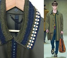 $3,595 RUNWAY Burberry Prorsum Men 38 48 Khaki Crochet Beaded Trench Coat NWT