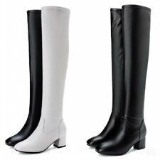 Womens Outdoor Round Toe Block Heel Casual Over The Knee High Thigh Long Boots