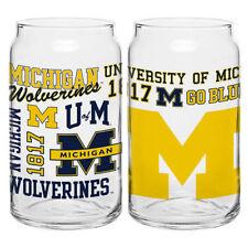 (1) Michigan Wolverines 16oz NCAA Fan Spirit Grafitti Drinking Glass Can