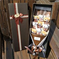 Bunch of 9 Rilakkuma Dolls flowers Plush Stuffed Toys Bithday Creative Gift Box