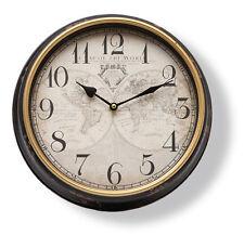 Horloge murale CARTE DU MONDE ANTIQUE SHABBY HORLOGERIE NOSTALGIE Montre noire