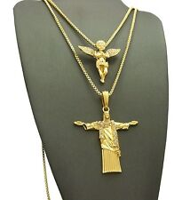 "Hip Hop Baby Angel, Christ Redeemer Pendant w/ 24"",30"" Box Chain 2 Necklace Set"