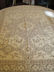 Vintage Rectangle Ivory Lace Table Linen Tablecloth Crafting