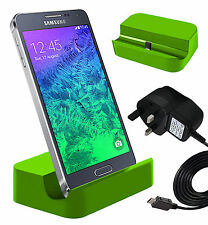 Green Micro USB Desktop Charging Dock & Mains Charger For Nokia Lumia 530