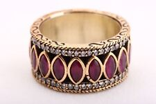 Sultan! Turkish Pure Jewelry Ruby Topaz 925 Sterling Silver Ring Size 6.5