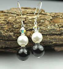 Black & White Earrings W Swarovski Elements Pearls Sterling Silver Filled