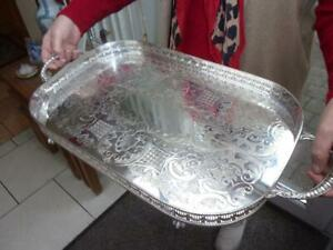 SUPERB LARGE SILVER PLATED GALLERY TRAY LOOPED HANDLES ELEGANT BALL & CLAW FEET