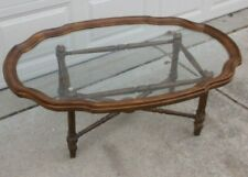 Drexel Two Piece Wood Frame Glass Tray Oval Coffee Table