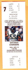 FULL TICKET! 11/15/92 CHARGERS/BROWNS-JUNIOR SEAU
