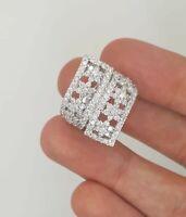 ESTATE 14K 585 WHITE GOLD ROUND CUT DIAMOND COCKTAIL CLUSTER FLOWER LADIES RING