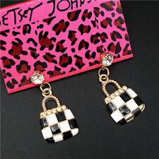 New Betsey Johnson Fashion Enamel Black plaid lady handbag Rhinestone Earrings