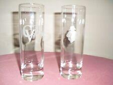 SET OF 2 COURVOISIER CV COGNAC NAPOLEON ETCHED TUMBLERS / GLASSES