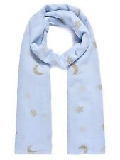 Blue Moon and Stars Embroidered Scarf, Throw, Wrap. Lovely Matériau BRAND NEW