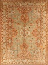 100 Years Old Vegetable Dye Antique Green 8x11 Oushak Turkish Oriental Area Rug