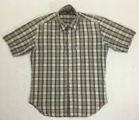 Levis Red Tab - Brown Check Short Sleeve Button Down Shirt - Mens - Size Medium
