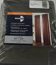"""NEW Double Lined Blackout Cypress 54"""" x 63"""" Curtain Panel Olive"""