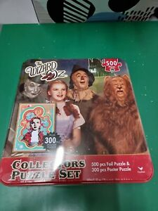 The Wizard Of Oz Jigsaw Puzzle Collectors Set in Tin. 2 Puzzles In Tin Box. AU