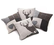 "Set of 6 Country Style Tartan Button & Patchwork Grey 18"" / 45 Cm Cushion Covers"