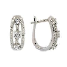 1.00 Carat Diamond 14k White Gold Hoop Earrings