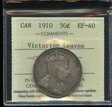 1910 Canada Fifty Cents - ICCS EF-40 - Victorian Leaves