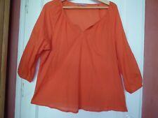 T 44 pur coton tunique chemise caftan orange Somewhere, maternité, ample plage