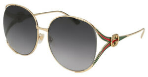Gucci GG0225S 001 Gold Grey Gradient Women's Sunglasses Large 63mm Authentic