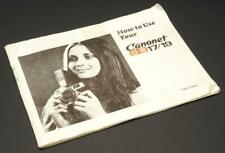 Canon Canonet G-III 17/19 Instructions