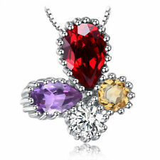 "Natural Amethyst Garnet Citrine 16"" Necklace Pendant Sterling Silver Delicate"