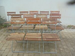 Alter Gartenstuhl Biergartenstuhl Klappstuhl Vintage Altholz Holz Metall 2+2/12
