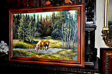 Large Vintage Horse Drinking in Creek By Jackson