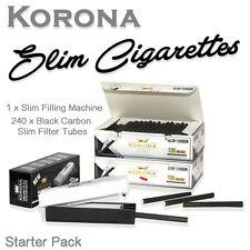 SET 240 Korona Slim Black Carbon Empty Cigarette Filter Tubes + Filling Machine