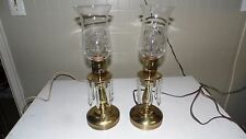 VINTAGE BRASS LAMP SET WITH CRYSTALS ETCHED GRAPE/LEAF GLASS SHADES SET FLICKER