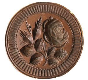 Ceramic Rose Floral Butter Cookie Mold Press Primitive Folk Decorativ Plaque