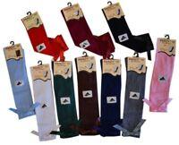 6 Girls Knee High School Bow Socks 80% cotton children kids All Size 1/3/6 Pairs