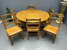 More details for acorn man table & 6 chairs adzed top solid oak superb manner mouse man