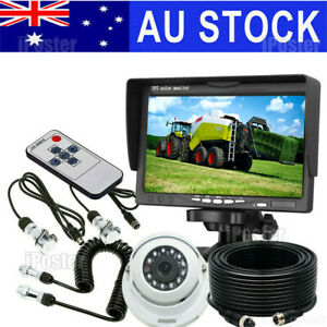 """4 PIN CCD Reversing Camera W/7""""Monitor & Trailer Suzy Coil Cable Kit For Caravan"""