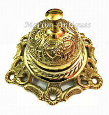 Antique Brass Ornate Hotel Front Desk Bell Vintage Service Counter Decor Bell