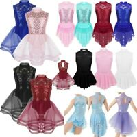 Kids Girls Figure Ice Skating Dress Mock Neck Competition Dress Dance Costume