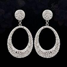 Hoop Drop Dangle Earrings 06794 Rhodium Plated Clear Crystal Rhinestone Wedding