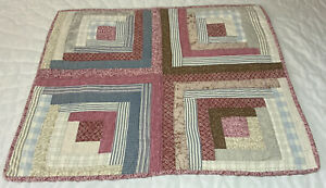 Patchwork Country Quilt Wall Hanging, Log Cabin, Floral Calicos, Pink, Brown