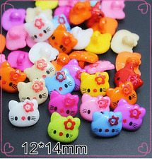100PCS Cute Mix Colors Hello Kitty Plastic Cartoon Button 1 Hole Sewing Children