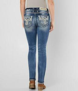 Rock Revival Womens Mertie Easy Straight Stretch Embellished Jeans Size 30 NEW