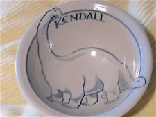 KENDALL ! Here's your Brand New CEREAL SOUP BOWL BRONTO DINOSAUR mono /HANDCRAFT