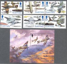 Guernsey Aviation- set & Min sheet Spitfires-World War I & II mnh