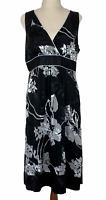 Jacqui E Womens Black Floral Silk Blend Sleeveless Lined Dress Size 12