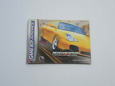 NEED FOR SPEED PORSCHE UNLEASHED manual Nintendo Game Boy Advance GBA ENGLISH