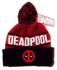 Marvel Comics DEADPOOL Youth - Men's Adult Graphic Pom Winter Hat Ages 14+ NWT