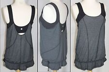 Lululemon Run For Your Life Tank top 8 black gray attached bra drawstring New