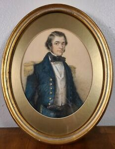 Antique Naval Captain Portrait Painting 19th century Man Military officer 1800s